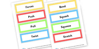 KS1 Forces Word Cards