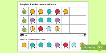 Compleat il motivo del bruco Attività - motivi, bruco, ripetizione, italiano, italian, materiale, scolastico, matematica