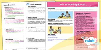 PlanIt - Science Year 3 - Animals Including Humans Planning Overview CfE - planit, science, planning overview, cfe