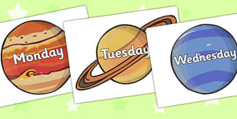Days of the Week on Space Images - days of the week, weeks, days, space images, space, themed day of the week, themed days, space themed, classroom display