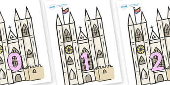 Numbers 0-31 on Churches - 0-31, foundation stage numeracy, Number recognition, Number flashcards, counting, number frieze, Display numbers, number posters