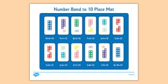 Number Bond to 10 Place Mat - number bond, 10, place mat, place, mat, number, bond, 0-10