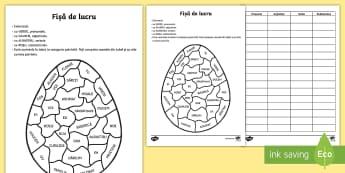 Oul de Paște Colorează după partea de vorbire - Easter, Paste, Paști, Pasti, fisa de lucru, romanian, gramatica, substantiv, pronume, adjectiv, ver
