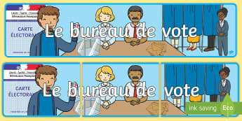 Bannière : Le bureau de vote Banderole d'affichage - élections, elections, vote, délégués de classe, candidats, bureau de vote, polling station, cand