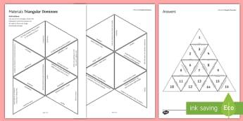 Materials Tarsia Triangular Dominoes - Tarsia, Dominoes, Triangular Dominoes, Materials, Ceramics, Metals, Reactivity, plenary activity