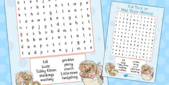 The Tale of Mrs Tiggy Winkle Wordsearch - mrs tiggy winkle, wordsearch, activity