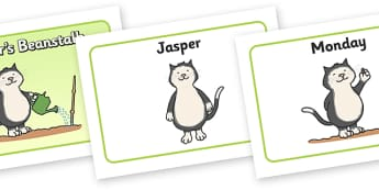 Visual Aids (A4) to Support Teaching on Jasper's Beanstalk - Jasper, Jasper's Beanstalk, bean, sprayed, visual aid, aid, A4, watered, slugs, rake, found, beanstalk, planted, cat, dig, plant, waiting, story book, story, story resources