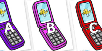 A-Z Alphabet on Mobile Phone - A-Z, A4, display, Alphabet frieze, Display letters, Letter posters, A-Z letters, Alphabet flashcards