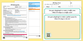 EYFS Hunt a Shape Adult Input Plan and Resource Pack - Beginning to use mathematical names for 'solid' 3D shapes , and mathematical terms to describe s