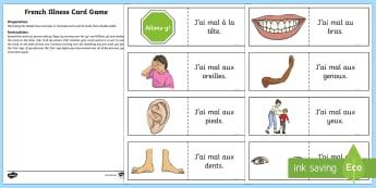 Different Illnesses Card Game English/French - French Games, french body parts, french sickness, french illness, self-correcting games,Scottish-tra