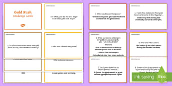 Gold Rush Challenge Cards - convicts, colony, gold rush, Australian, australia, mining, facts, research