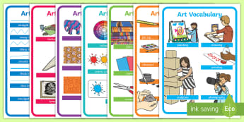 Art Vocabulary Display Posters - KS1, Art Vocabulary, key stage one, art and design, drawing, painting, sculpture, painting, printing