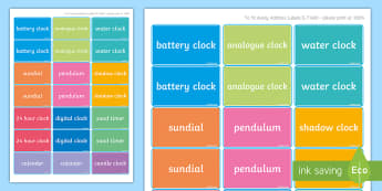 Measuring Time Device Labels - measuring time, clocks, artefacts, classroom display, measures, maths, time, sand timer, sundial ,Ir
