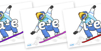 Modifying E Letters on Snowboarding - Modifying E, letters, modify, Phase 5, Phase five, alternative spellings for phonemes, DfES letters and Sounds