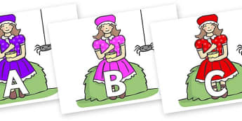 A-Z Alphabet on Little Miss Muffet - A-Z, A4, display, Alphabet frieze, Display letters, Letter posters, A-Z letters, Alphabet flashcards