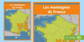 Poster format A2 : Les montagnes - Cartes géographiques, map, cycle 2, cycle 3,  KS2, mountains, montagnes, chaînes de montagnes, mou