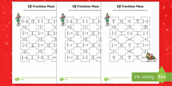 Elf Fractions Maze Differentiated Activity Sheets - UKS2, maths, fractions, mazes, Christmas, elf