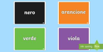 Collezione Schede Dei Colori Poster - i, colori, poster, colorati, nomi, italiano, italian, materiale, scolastico
