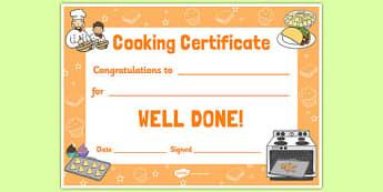 Cooking Reward Certificate - cooking, reward, certificate, cook, food, award