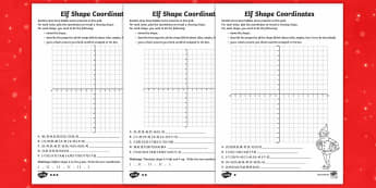 Elf Shape Coordinates Differentiated Activity Sheets - UKS2, maths co-ordinates, 2-D shape, properties of shapes, Christmas, elf