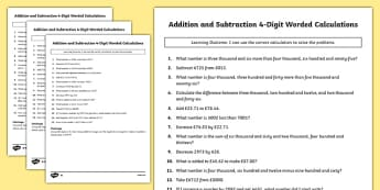 Addition and Subtraction 4 Digit Worded Calculations - two step, 4 digit, word problems, word, problems, maths, numeracy