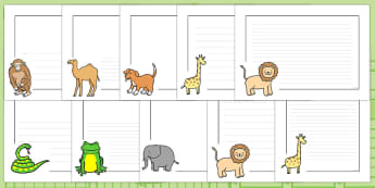 Page Borders to Support Teaching on Dear Zoo - Dear Zoo, Rod Campbell story, zoo, zoo animals, adjectives, descriptive words, lion, monkey, puppy, giraffe, story book, story book resources, story sequencing, story resources, zoo, animals, Literacy, w