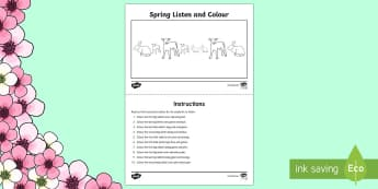 Spring Listen and Colour Six Key Words Activity Sheet - ICW, DLS, six key words, Derbyshire Language Scheme, active listening, attention and listening, posi