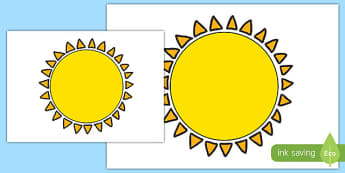 Large A2 Sun Cut Out - a2, cut out, sun, display, cut, stick