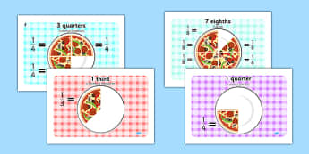 Pizza Fractions Romanian Translation - romanian, Fraction, numeracy, fractions, half, quarter, whole, three quarters, two halves, pizza, fraction