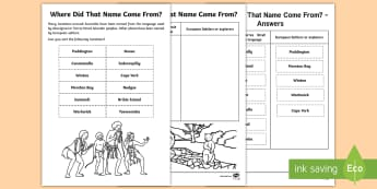 Where Did That Name Come From? Activity Sheet - Sorting, Indigenous, Australian, locations, Aboriginal Peoples, worksheet, Torres Strait Islander Pe