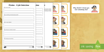 KS1 Pirate Job Interview  Activity - Career, Motivation, Ambition, Interview, Questions, Answers
