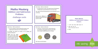 Year 6 Addition and Subtraction Problems Maths Challenge Cards - Australia Maths Resource Moving,Australia