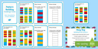 Brick Patterns Busy Bag Prompt Card and Resource Pack - EYFS, Patterns, shape space measure, brick, lego, lego cards, patterns, repeating sequence, shape, c