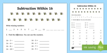 Subtraction within 16 Activity Sheet - NI KS1 Numeracy, subtraction within 16, worksheet, take away, numbers to 16
