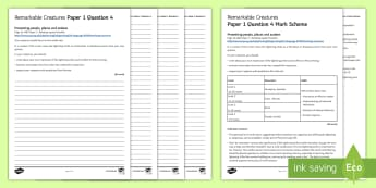 AQA Eng Lang P1 Q4 'Remarkable Creatures' Mini Exam Pack - AQA GCSE Specific Question Resources, structure, language, evaluation, Question 4, revision, Remarka