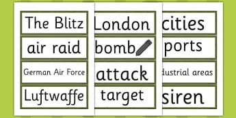 The Blitz Word Cards - the blitz, word cards, word, cards, ww2