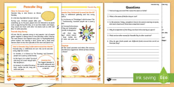 KS1 Pancake Day Differentiated Reading Comprehension Activity - Pancake Day, Pancakes, Shrove Tuesday, Ash Wednesday, Lent, Easter, Reading, Guided Reading, Compreh