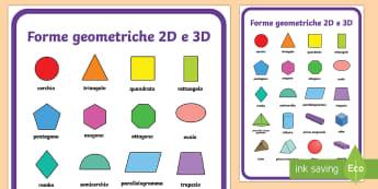 Forme Geometriche 2D e 3D Poster - poster, A2, formato, Italiano, Italian, geometria, geometriche, 3D, 2D, matematica