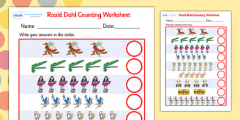 Roald Dahl Counting Worksheet - roald dahl, counting worksheet, roald dahl counting worksheet, roald dahl themed worksheets, counting sheets