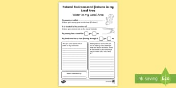 Natural Environmental Features (water) in my Local Area Activity Sheet-Irish - ROI, The World Around UsWAU,Irish, Worksheet