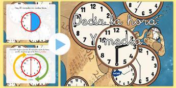 Presentación: Decir la hora - Y media - decir la hora, la hora, horas, horario, tiempo, y media, presentación, powerpoint, power point, mat