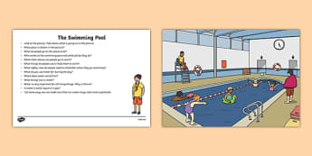 The Swimming Pool Oral Language  Activity Sheet-Irish, worksheet