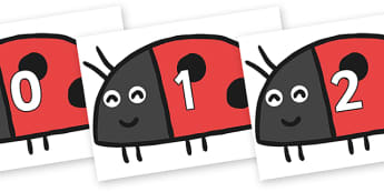 Numbers 0-31 on Ladybird to Support Teaching on What the Ladybird Heard - 0-31, foundation stage numeracy, Number recognition, Number flashcards, counting, number frieze, Display numbers, number posters