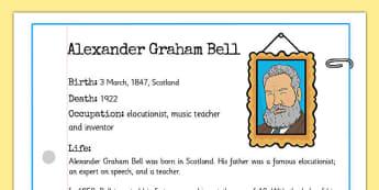 Alexander Bell Significant Individual Fact Sheet - alexander bell