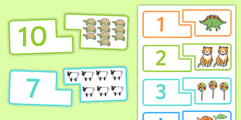 Counting Matching Puzzle - count, match, counting game, math game, Counting, numeral recognition, numbers to 20, puzzle
