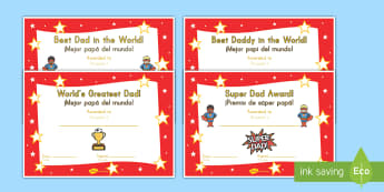 Father's Day Certificates US English/Spanish (Latin) - Father's day blank card templates, design, father's day card, father's day cards, father's day a