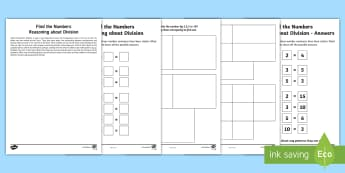 Year 2 Maths Reasoning about Division Homework Activity Sheet - year 2, maths, homework, reasoning, division, sharing, all possibilities, worksheet