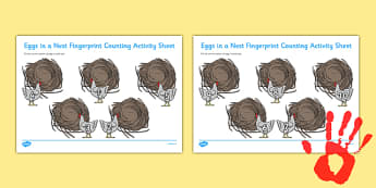 Eggs in a Nest Fingerprint Counting Activity Sheet Pack - EYFS activities, number, EAD, farm, Easter, hens, chickens, worksheet