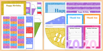 Birthday Age Celebration Resource Pack - Birthdays, celebration, decorations, games, 70, 80, 90, 100, 70th, 80th, 90th, 100th birthday party,