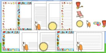 Le mie vacanze estive Bordi pagina - cornici, cornicette, tema, estivo, estate, colori, clorate, linee, scrivere, italiano, italian